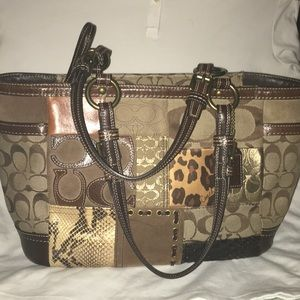 Coach 1941 Multicolor Leather Snakeskin Suede Tote